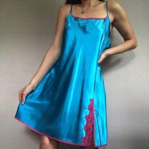 Vintage Blue Satin Slip Dress Pink Lace Trim